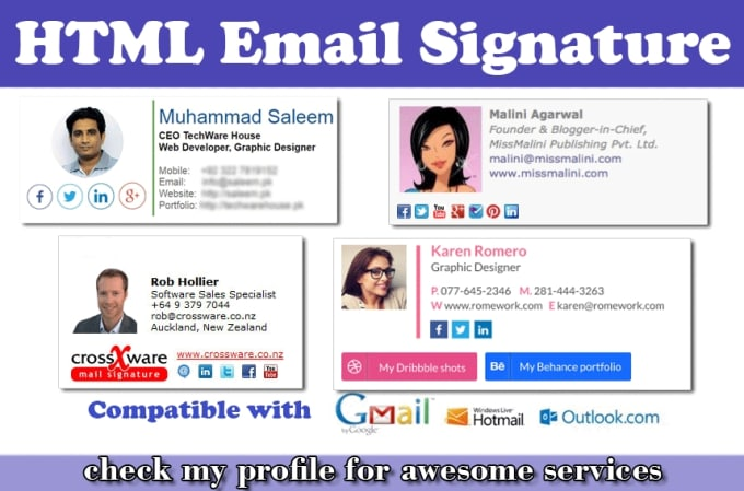 saleemwebs - fiverr - I Will Design Clickable Email Signature